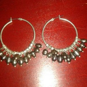 Jewelry - Nwot silver freshwater pearls dangling on hoops
